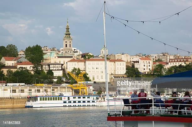 SERBIA-Belgrade: Danube River Barge Restaurant and Stari Grad