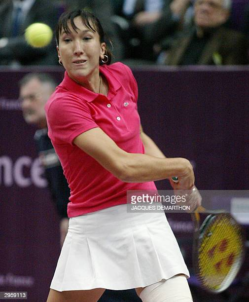SerbiaMontenegro's Jelena Jankovic hits a backhand to Russia's Dinara Safina during their first round match at the 'Open Gaz de France' indoor...