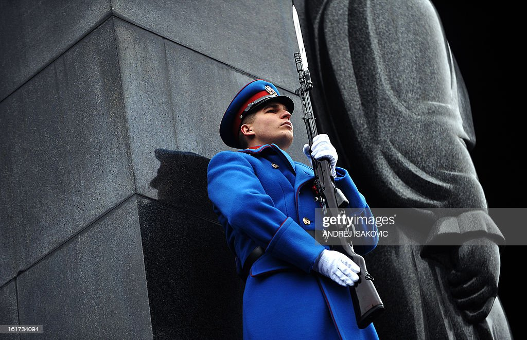 A Serbian Army soldier stands guard during a ceremony at the monument of the Unknown Soldier on mount Avala near Belgrade, on February 15, 2013, on Serbia's Statehood Day, a celebration of the 209th anniversary of the first Serbian uprising and the creation of the modern Serbian state.
