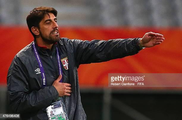 Serbian coach Veljko Paunovic gestures during the FIFA U20 World Cup New Zealand 2015 Round of 16 match between Serbia and Hungary at Otago Stadium...