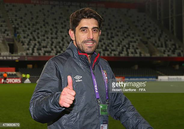 Serbian coach Veljko Paunovic gives the thumbs up after Serbia defeated Mali during the FIFA U20 World Cup New Zealand 2015 Group D match between...
