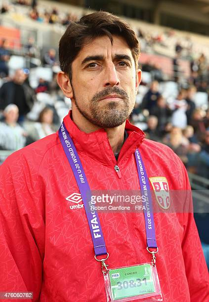 Serbian coach Veljko Paunovic looks on before the FIFA U20 World Cup New Zealand 2015 Group D match between Serbia and Mexico at Otago Stadium on...