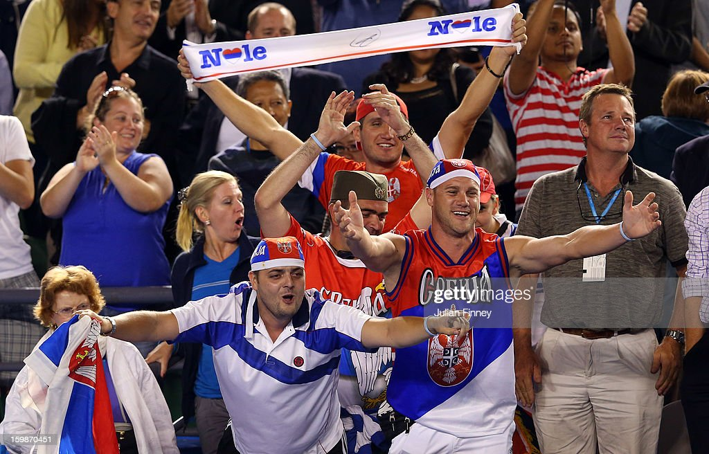 Serbian fans show their support for Novak Djokovic of Serbia after he defeated Tomas Berdych of Czech Republic in the Quarterfinal match during day nine of the 2013 Australian Open at Melbourne Park on January 22, 2013 in Melbourne, Australia.