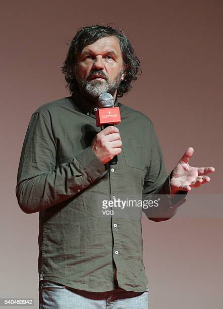 Serbian film director Emir Kusturica attends a fan meeting for his new movie 'Underground' during the 19th Shanghai International Film Festival on...