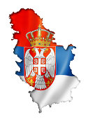 Serbia flag map, three dimensional render, isolated on white