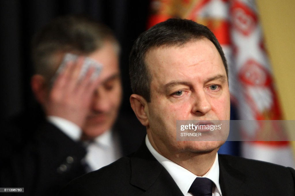 Serbian Foreign Minister Ivica Dacic addresses a press conference in Belgrade on February 20 after an US strike on an Islamic State jihadist camp in...