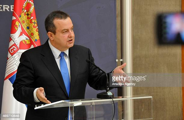 Serbian Foreign Minister Ivica Dacic holds a joint press conference with Bosnian Foreign Minister Igor Crnadak in Belgrade Serbia on April 14 2015