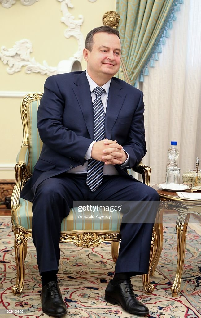 Serbian Foreign Minister <a gi-track='captionPersonalityLinkClicked' href=/galleries/search?phrase=Ivica+Dacic&family=editorial&specificpeople=5427949 ng-click='$event.stopPropagation()'>Ivica Dacic</a> holds a meeting with Iranian President Hassan Rouhani (not seen) at the presidential palace in Tehran, Iran on August 04, 2015.
