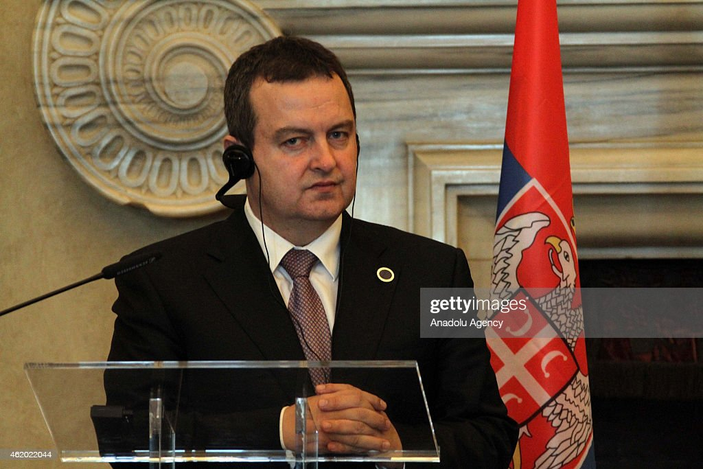 Serbian Foreign Minister <a gi-track='captionPersonalityLinkClicked' href=/galleries/search?phrase=Ivica+Dacic&family=editorial&specificpeople=5427949 ng-click='$event.stopPropagation()'>Ivica Dacic</a> holds a press conference after meeting Italian Foreign Minister Paolo Gentiloni and Albanian Foreign Minister Dimitri Bushati at Villa Madama in Rome, Italy on January 23, 2015.