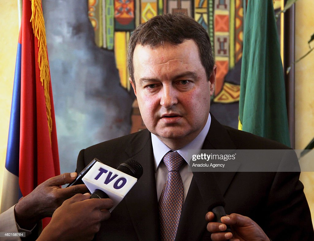 Serbian Foreign Minister Ivica Dacic speaks to the press after a meeting with Ethiopian Foreign Minister Tedros Adhanom (not seen) in Addis Ababa, Ethiopia on January 25, 2015.