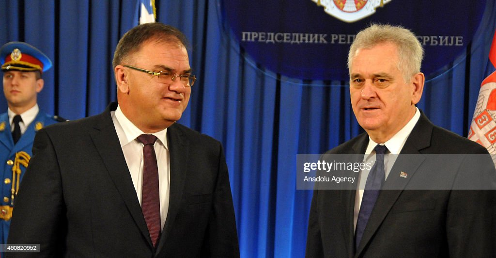 Serbian member of Bosnian tripartite Presidency Mladen Ivanic (L) meets with Serbian President Tomislav Nikolic (R) in Belgrade, Serbia on December 24, 2014.