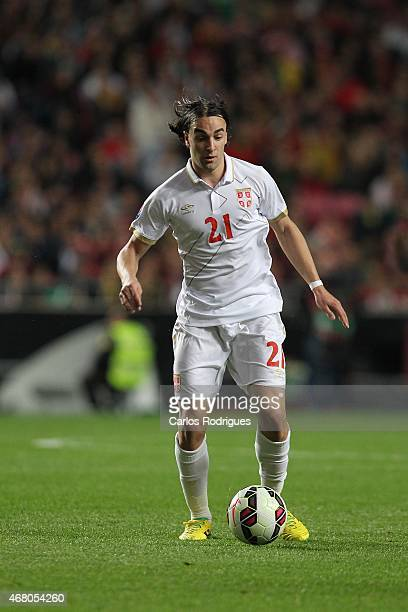 Serbian midfielder Lazar Markovic during the UEFA Euro 2016 Qualifier between Portugal and Serbia at Estadio da Luz on March 29 2015 in Lisbon...