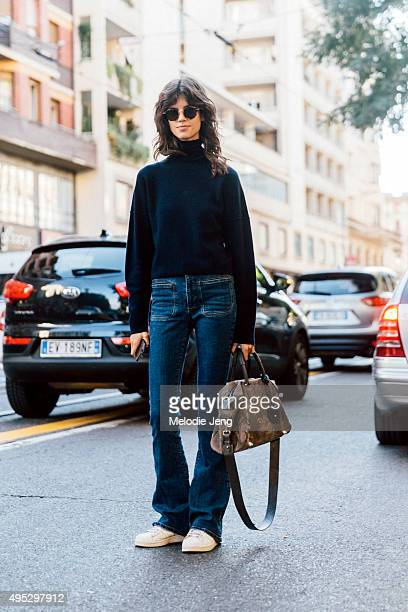 Serbian model Antonina Petkovic exits the Costume National show during the Milan Fashion Week Spring/Summer 16 on September 24 2015 in Milan Italy...