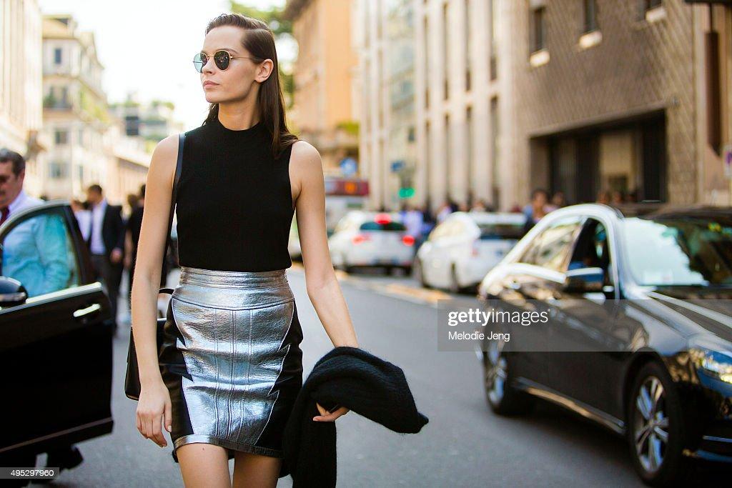 Serbian model Mina Cvetkovic exits the Roberto Cavalli show during the Milan Fashion Week Spring/Summer 16 on September 26 2015 in Milan Italy Mina...