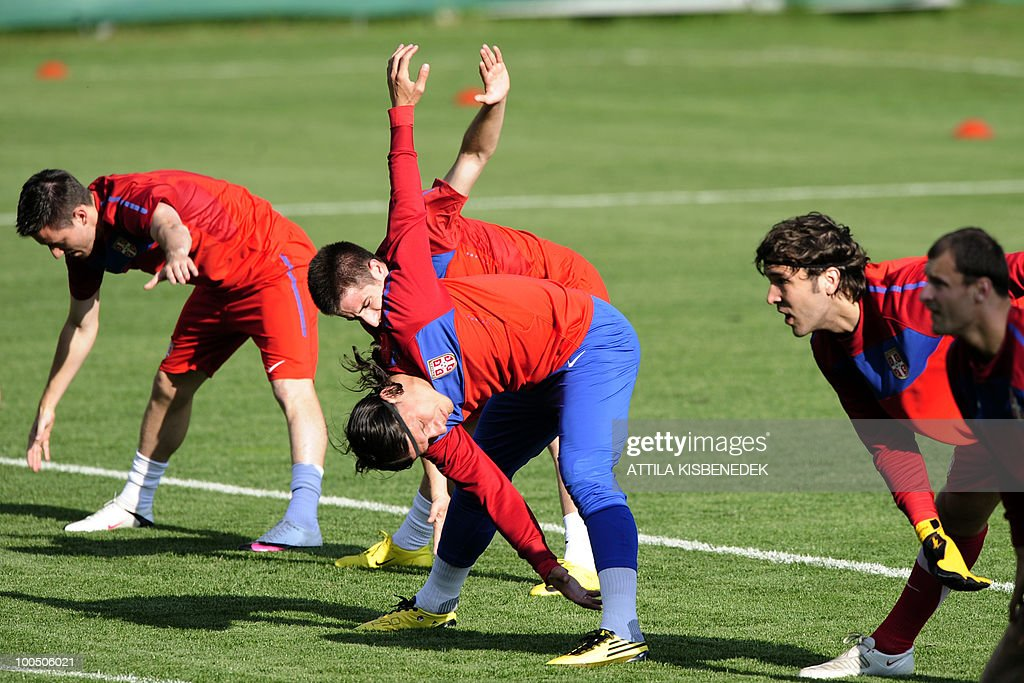 Serbian national football team players warm up in a stadium in Leogang, Austria on May 25, 2010 during their first training session in preparation for the 2010 World Cup in South Africa.
