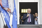 Serbian nationalist Vojislav Seselj addresses to his supporters after his arrival at Radical party headquarters in Zemun near Belgrade on November 12...