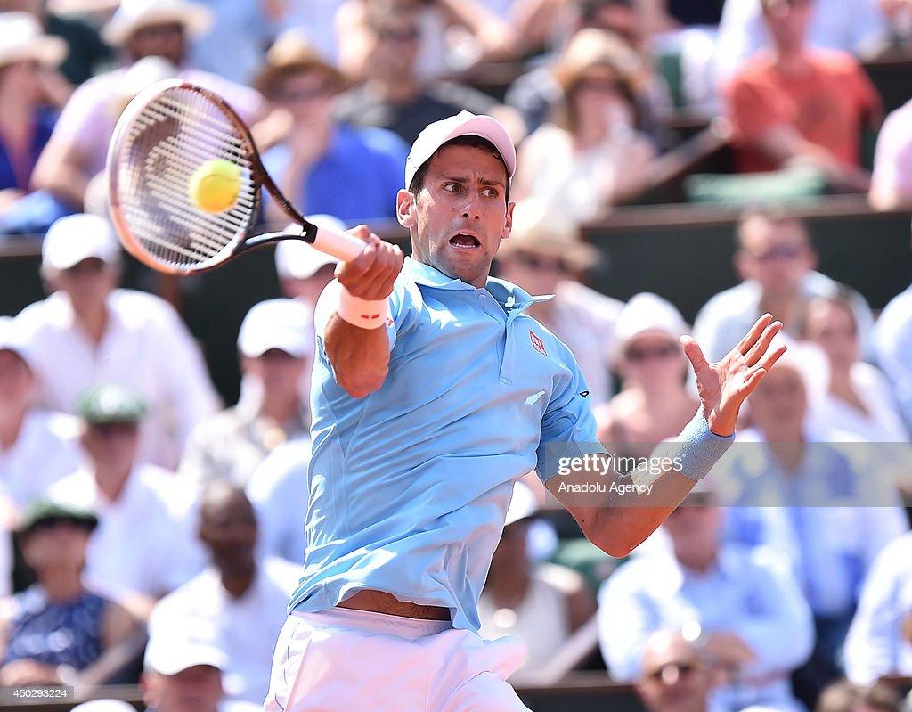 Serbian Novak Djokovic returns the ball during the French Open men's final match against Spain's Rafael Nadal at the Roland Garros stadium in Paris, France on June 8, 2014.