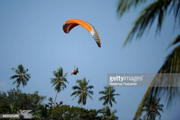 Serbian paraglider Tamara Kostic competes during the Paragliding Accuracy World Cup 1st Series 2017 at Mount Tumpa on March 19 2017 in Manado...