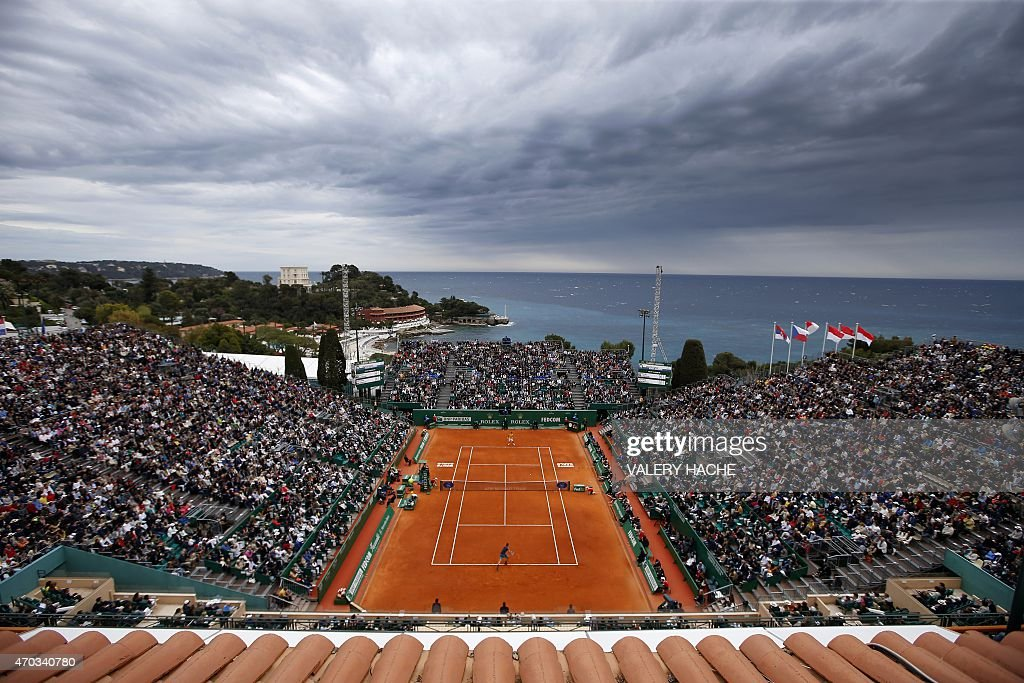 Serbian player Novak Djokovic hits a return to Czech Republic's Tomas Berdychduring the MonteCarlo ATP Masters Series Tournament final tennis match...