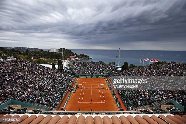 Serbian player Novak Djokovic hits a return to Czech Republic's Tomas Berdychduring the MonteCarlo ATP Masters Series Tournament final tennis match...
