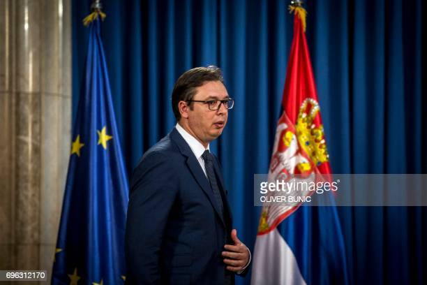 Serbian President Aleksandar Vucic arrives for a press conference in Belgrade on June 15 2017 Vucic announced Ana Brnabic as the serbia's next prime...