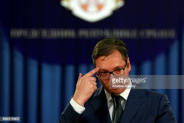 Serbian President Aleksandar Vucic gestures during a press conference in Belgrade Serbia on June 15 2017 Vucic announced Serbian Minister of Public...