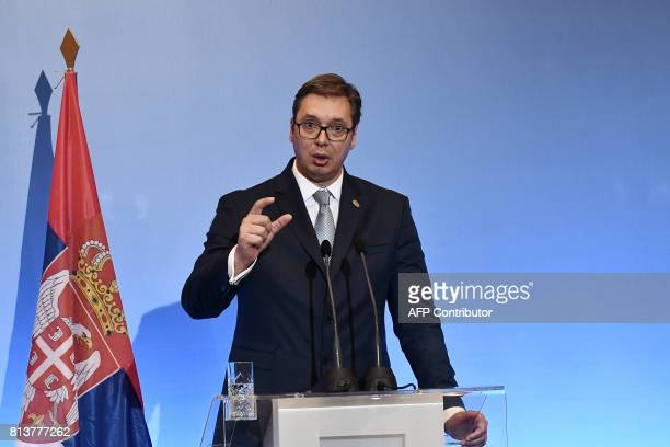 Serbian President Aleksandar Vucic gives a press conference during the GreekSerbian HighLevel Cooperation Council in Thessaloniki on July 13 2017 /...