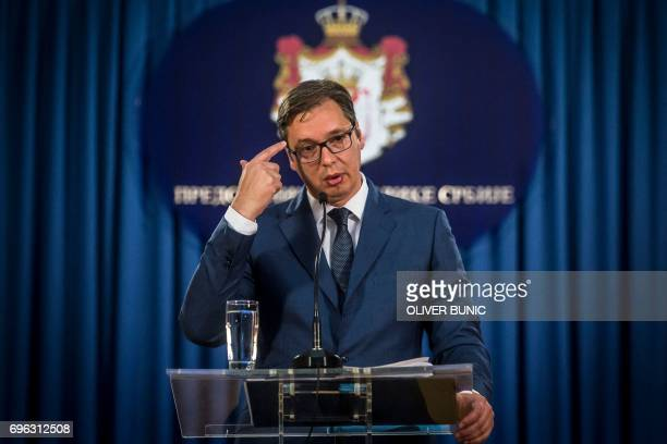Serbian President Aleksandar Vucic gives a press conference in Belgrade on June 15 2017 Vucic announced Ana Brnabic as the serbia's next prime...