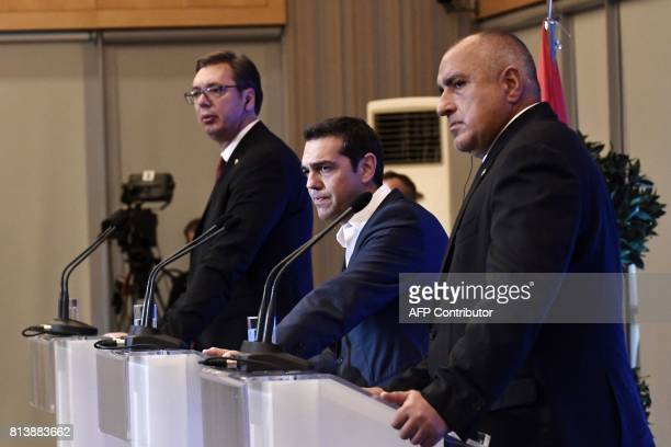 Serbian President Aleksandar Vucic Greek Prime Minister Alexis Tsipras and Bulgarian Prime Minister Boyko Borisov attend a joint press conference...