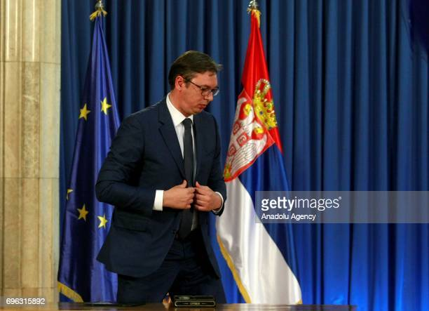 Serbian President Aleksandar Vucic holds a press conference in Belgrade Serbia on June 15 2017 Vucic announced Serbian Minister of Public...