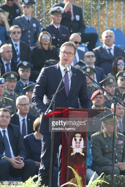 Serbian President Aleksandar Vucic makes a speech during a ceremony to mark the 73 anniversary of liberation of Belgrade from Nazi occupation at...