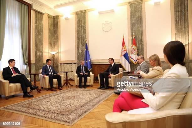 Serbian President Aleksandar Vucic meets President of the NATO Parliamentary Assembly Paolo Alli in Belgrade Serbia on June 14 2017