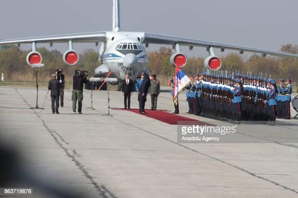 Serbian President Aleksandar Vucic Russian Defence Minister Sergei Shoigu Serbian Defence Minister Aleksandar Vulin President of the National...