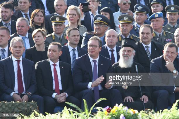 Serbian President Aleksandar Vucic Serbian Minister of Defence Aleksandar Vulin and Russian Defence Minister Sergei Shoigu attend a ceremony to mark...