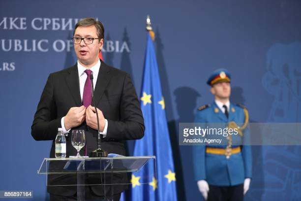 Serbian President Aleksandar Vucic speaks during a joint press conference with Members of Bosnia and Herzegovina's tripartite Presidency Dragan Covic...