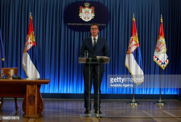 Serbian President Aleksandar Vucic speaks during a press conference in Belgrade Serbia on June 15 2017 Vucic announced Serbian Minister of Public...