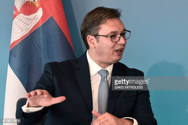 Serbian President Aleksandar Vucic speaks with Greek Prime Minister during the GreekSerbian HighLevel Cooperation Council in Thessaloniki on July 13...