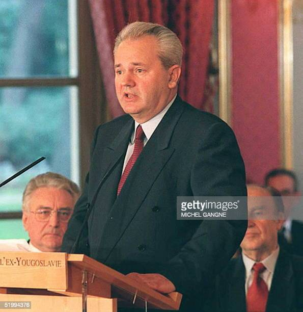 Serbian President Slobodan Milosevic gives a speech before the signing of the peace accord on Bosnia at the Elysee Palace in Paris 14 December as...