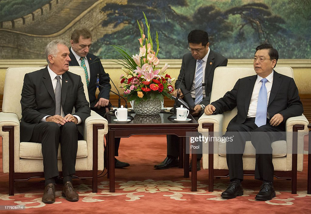Serbian President Tomislav Nicolic (L) and Chinese Chinese Vice Premier Zhang Dejiang hold talks at the Great Hall of the People on August 26, 2013 in Beijing, China. Nicolic is on a five day visit to China to bolster economic and diplomatic ties.