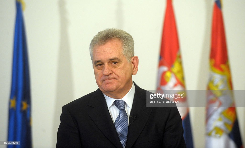 Serbian President Tomislav Nikolic attends a meeting with journalists in Belgrade on January 16, 2012. Nikolic ruled out any possibility that Serbia could agree on breakaway Kosovo's bid to join the United Nations within ongoing EU-mediated talks. 'Serbia will never recognise the independence of Kosovo and therefore Kosovo will not have a seat at the UN,' Nikolic told reporters here a day before Prime Minister Ivica Dacic was to meet his Kosovo counterpart Hashim Thaci in Brussels.