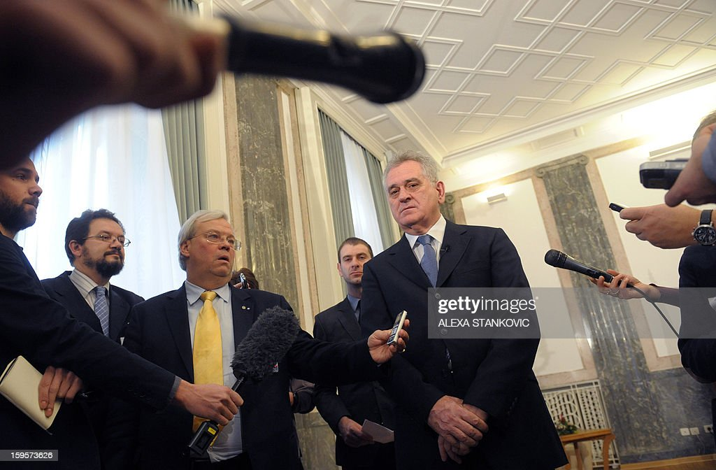 Serbian President Tomislav Nikolic attends a meeting with journalists in Belgrade on January 16, 2012. Nikolic on Wednesday ruled out any possibility that Serbia could agree on breakaway Kosovo's bid to join the United Nations within ongoing EU-mediated talks. 'Serbia will never recognise the independence of Kosovo and therefore Kosovo will not have a seat at the UN,' Nikolic told reporters here a day before Prime Minister Ivica Dacic was to meet his Kosovo counterpart Hashim Thaci in Brussels. AFP PHOTO / ALEXA STANKOVIC