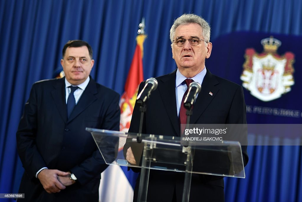 Serbian President <a gi-track='captionPersonalityLinkClicked' href=/galleries/search?phrase=Tomislav+Nikolic&family=editorial&specificpeople=801987 ng-click='$event.stopPropagation()'>Tomislav Nikolic</a> (R) flanked by Bosnian Serb political leader, Milorad Dodik, addresses a press conference on February 3, 2015, in Belgrade, after the UN's highest court rejected rival claims of genocide by Croatia and Serbia.The IJC dismissed Croatia's claim that Serb forces committed genocide during the country's 1991-1995 war of independence and issued a similar ruling on a counter-claim by Belgrade over a Croatian counter-offensive that forced 200,000 Serbs to flee.
