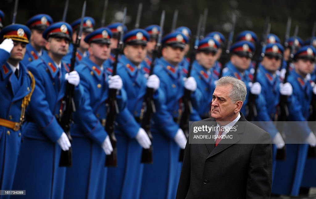 Serbian President Tomislav Nikolic inspects an honour guard at the monument of the Unknown Soldier on mount Avala near Belgrade, on February 15, 2013, on Serbia's Statehood Day, a celebration of the 209th anniversary of the first Serbian uprising and the creation of the modern Serbian state.