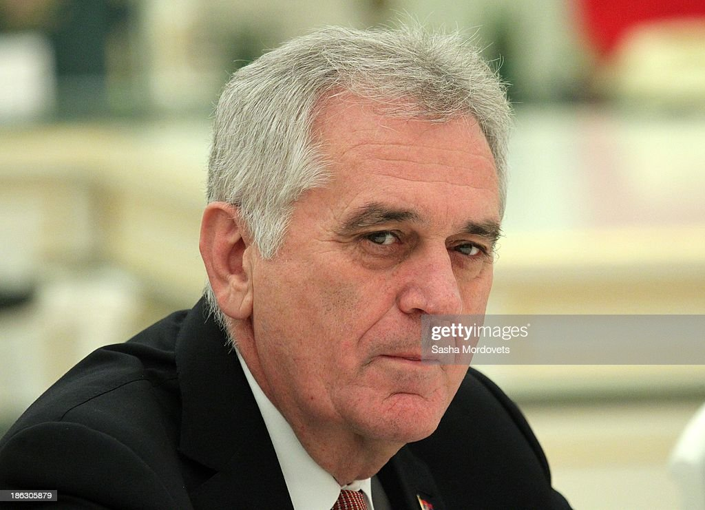 Serbian President <a gi-track='captionPersonalityLinkClicked' href=/galleries/search?phrase=Tomislav+Nikolic&family=editorial&specificpeople=801987 ng-click='$event.stopPropagation()'>Tomislav Nikolic</a> speaks during a meeting with Russian President Vladimir Putin in the Kremlin October 30, 2013 Moscow, Russia, . Nikolic is in Russia on a state visit.