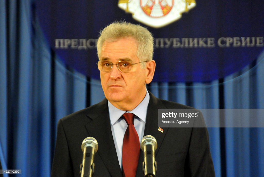 Serbian President <a gi-track='captionPersonalityLinkClicked' href=/galleries/search?phrase=Tomislav+Nikolic&family=editorial&specificpeople=801987 ng-click='$event.stopPropagation()'>Tomislav Nikolic</a> speaks during a press conference about the decision of International Court of Justice on genocide case in Belgrade, Serbia on February 03, 2015.
