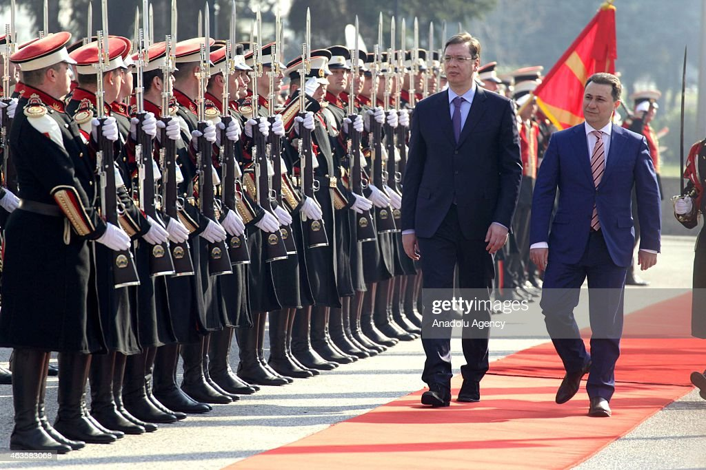 Serbian Prime Minister Alaksandar Vucic (L) accompanied by his Macedonian counterpart <a gi-track='captionPersonalityLinkClicked' href=/galleries/search?phrase=Nikola+Gruevski&family=editorial&specificpeople=567539 ng-click='$event.stopPropagation()'>Nikola Gruevski</a> (R) as they inspect the honor guard in front of the government building in Skopje, Macedonia on 16 February 2015. Vucic and his government arrived for an official visit to Macedonia to attend a joint session of both governments.