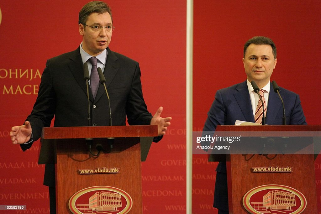 Serbian Prime Minister Alaksandar Vucic (L) his Macedonian counterpart <a gi-track='captionPersonalityLinkClicked' href=/galleries/search?phrase=Nikola+Gruevski&family=editorial&specificpeople=567539 ng-click='$event.stopPropagation()'>Nikola Gruevski</a> (R) hold a joint press conference in the government building in Skopje, Macedonia on 16 February 2015. Serbian PM Vucic and the entire Serbian Government arrived in an official visit to Macedonia to attend a joint session of both governments.
