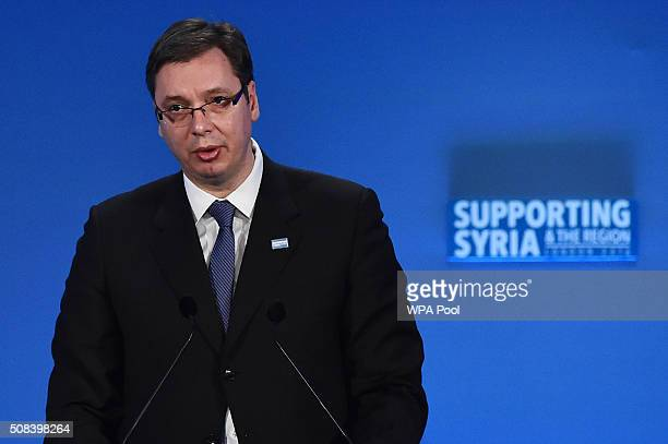 Serbian Prime Minister Aleksandar Vucic addresses delegates during the fourth 'Thematic Pledging Session' during the 'Supporting Syria Conference' at...