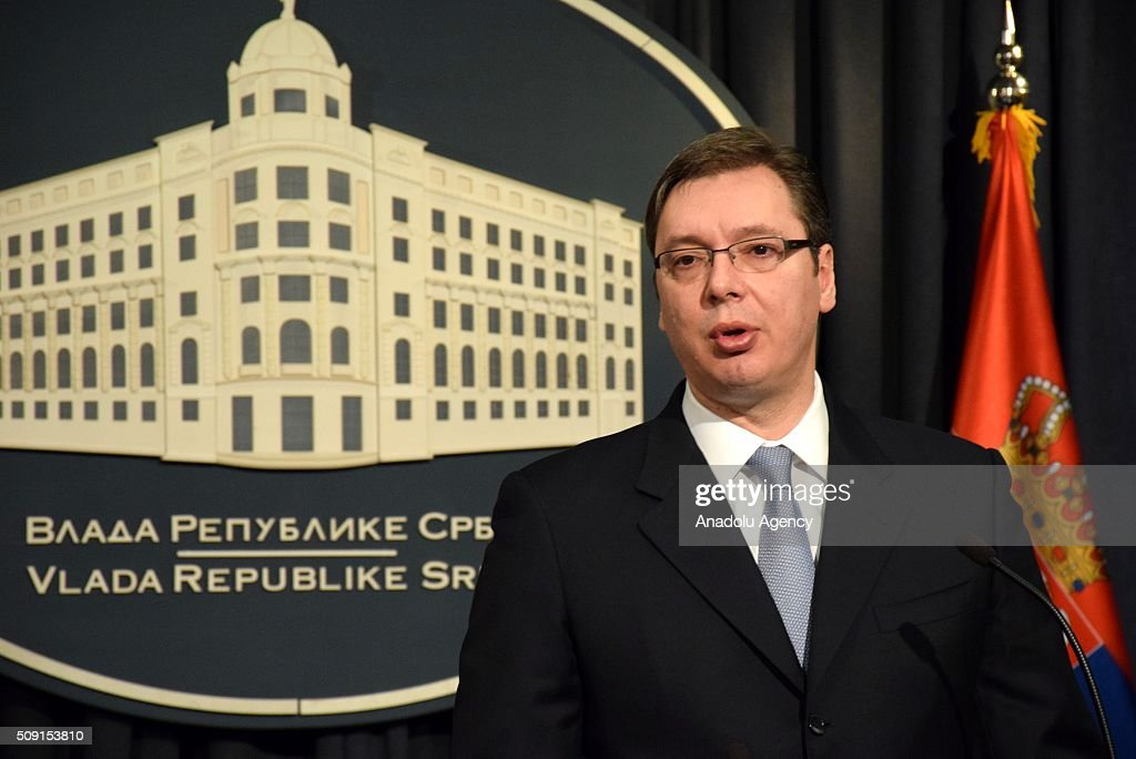 Serbian Prime Minister Aleksandar Vucic (C) and Austria's Minister of Foreign Affairs, Sebastian Kurz (not seen) hold a joint press conference at Prime Ministry in Belgrade, Serbia on February 09, 2016.