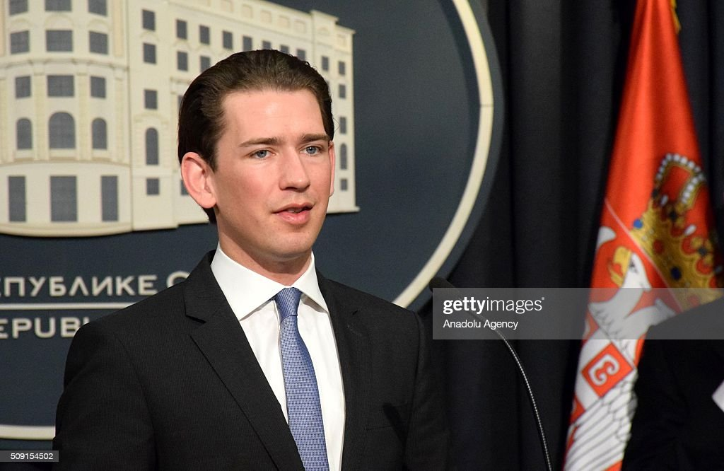 Serbian Prime Minister Aleksandar Vucic (not seen) and Austria's Minister of Foreign Affairs, Sebastian Kurz (C) hold a joint press conference at Prime Ministry in Belgrade, Serbia on February 09, 2016.